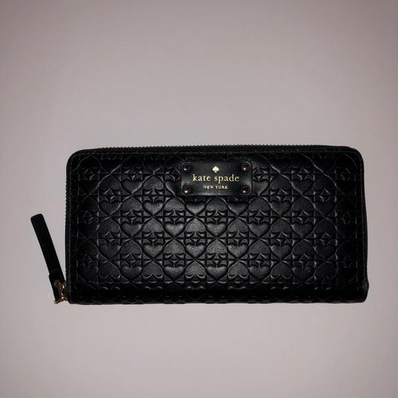 kate spade Handbags - black kate spade penn place embossed wallet